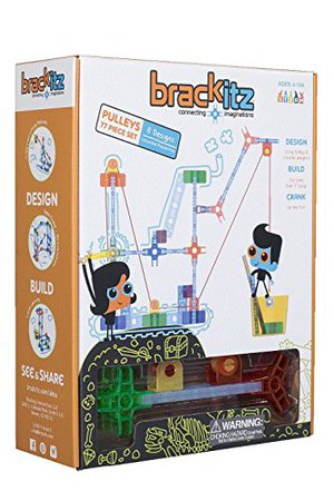 Preview thumbnail for 'Brackitz Pulley Set for Kids | Building Toy for Boys and Girls Ages 4, 5, 6, 7, 8 Years Old | STEM Discovery Learning Kit | Best Children Educational Construction Toys | 77 Pc Set