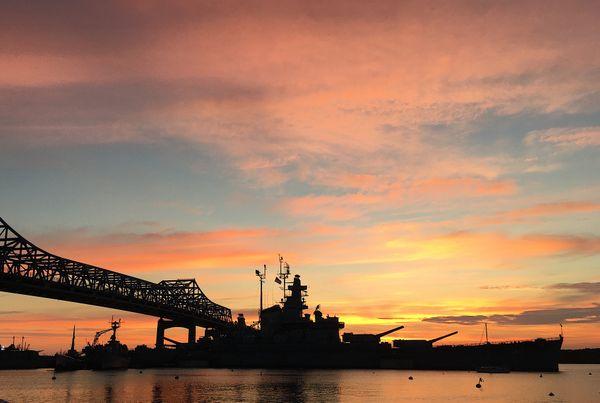Sunset Behind USS Massachusetts thumbnail
