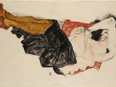 """Egon Schiele, """"Woman Hiding Her Face,"""" 1912"""