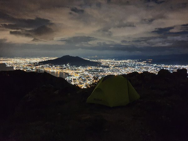 Night views of Vesuvius volcano and Naples from our campsite thumbnail