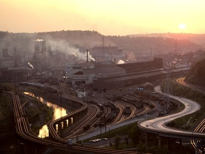 """""""I was elected to represent the citizens of Pittsburgh, not Paris,"""" President Trump said during his announcement that the United States would be leaving the Paris agreement. Pictured: a steel mill in the Monongahela Valley of East Pittsburgh in the early 1970's."""