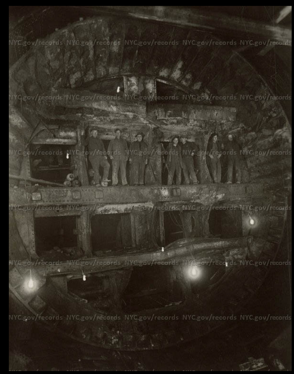 Men digging the South Tunnel of the Holland Tunnel, 1927.