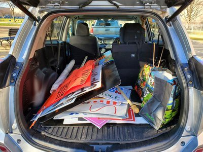 After three hours of searching, the back of my vehicle was filled with an array of potential museum artifacts, big and small, long and short.