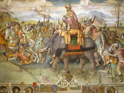 This fresco by Jacopo Ripanda depicts Hannibal crossing the Alps in 218 B.C. New research claims to have located the site of the general's first major victory in Spain.