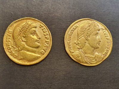 Two looted gold coins recovered from a home in Bnei Brak