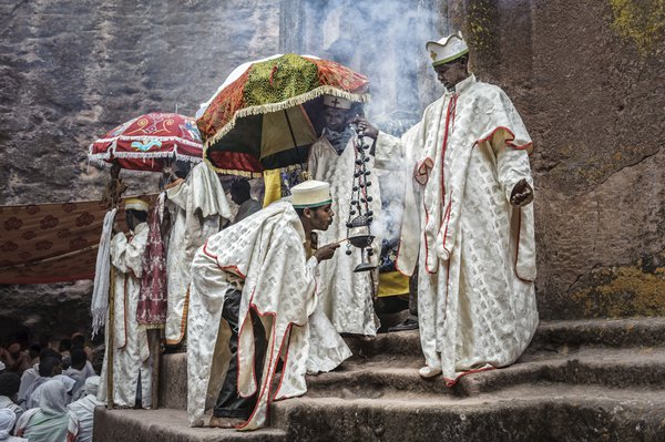 Group of priest celebrating Orthodox Easter, Lalibela, Ethiopia, Africa. thumbnail