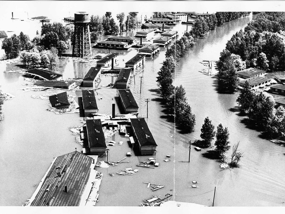 Aerial view of flooded area