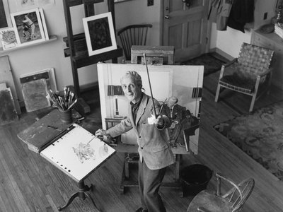 Norman Rockwell (above in a 1968 photograph by Garry Camp Burdick), who created more than 300 original covers for the Saturday Evening Post over the course of his long career, was already widely known for his rich visualizations of the American dream when he set about the challenging task of animating FDR's Four Freedoms.