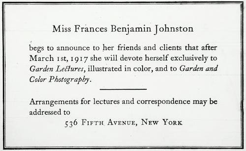 Frances Benjamin Johnston's Garden Legacy: New Finds from the Archives