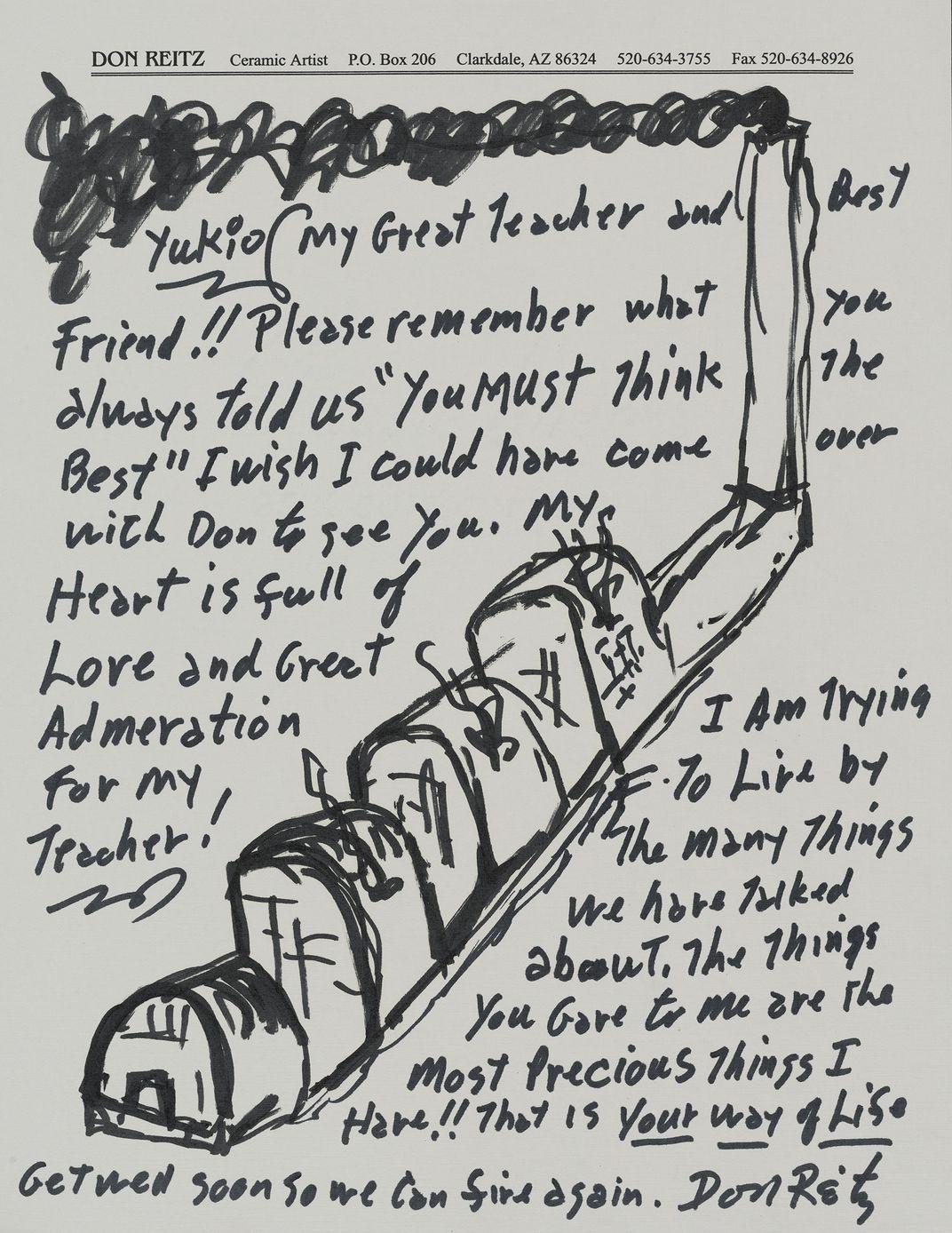 Letter written to Yukio Yamaoto by Don Reitz