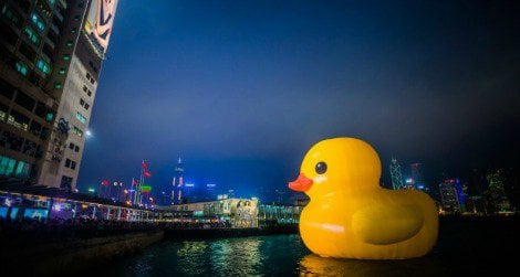 A massive inflatable rubber duck