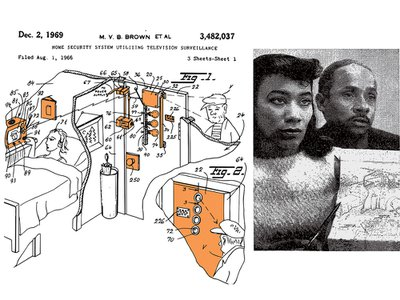Left, a portion of the patent plan designed by Marie Van Brittan Brown and her husband Albert, right.