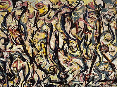 Art historian Henry Adams contends that Pollock created Mural around his name, discernible as camouflaged letters.
