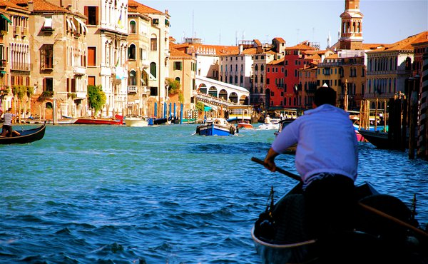Entering the Grand Canal in the shade, with Venice alive with inviting bright sunlight and picturebook colors. thumbnail