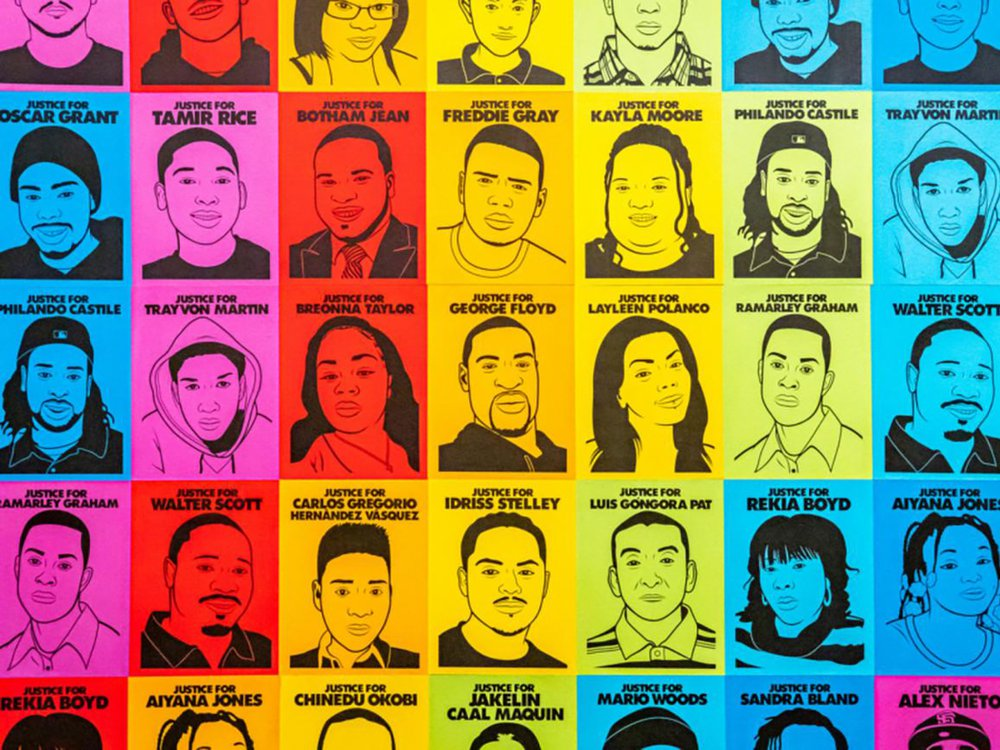 Oree Originol, Justice for Our Lives, 2014-Present, 78 digital images, Smithsonian American Art Museum, Museum purchase through the Patricia Tobacco Forrester Endowment, 2020.51A-MM, © 2014, Oree Originol. Photo of Installation by Albert Ting.