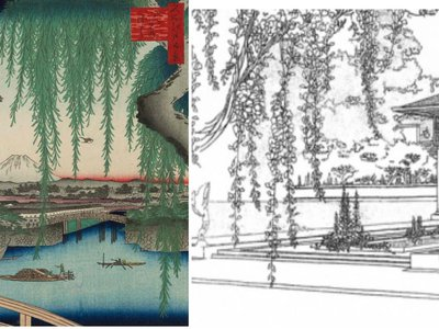 In his 1910 rendering of the Winslow House, Wright seems to mimic Ando Hiroshige's use of vegetation as a frame.