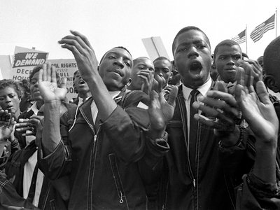 Peaceful protestors march down Constitution Avenue and the National Mall on August 28, 1963.