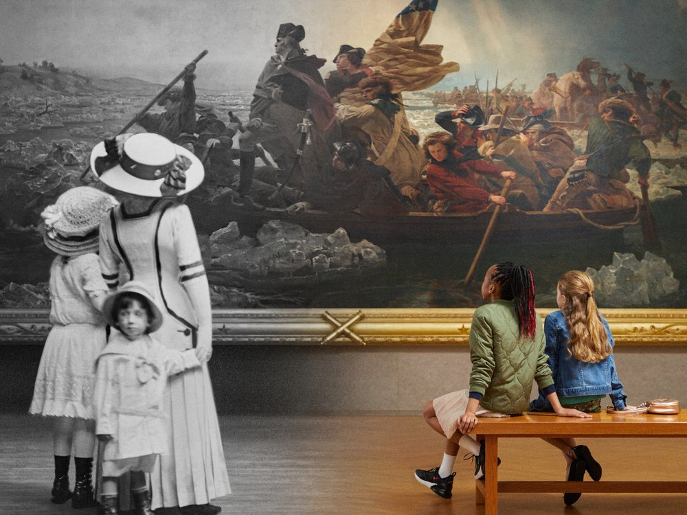 A composite image that goes from black and white archival image with A woman in a hat and floor length old fashioned dress and two children left to a color 21st century image right of two young people sitting and facing the large painting
