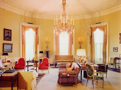 """The White House's <a href=""""http://www.whitehousemuseum.org/floor2/yellow-oval-room.htm>Yellow Oval Room, which Parish redesigned, is often used for formal private receptions. Its furnishings are still in the Louis XVI style today."""