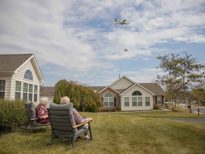 Susie and Paul Sensmeier of Christiansburg, Virginia, got front row seats to the arrival of the first drone-shipped home delivery in the fall of 2019.