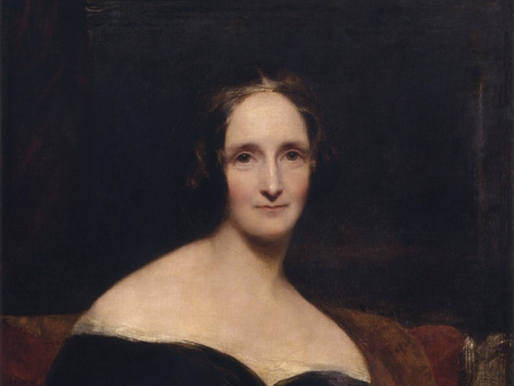 A moody portrait of Mary Shelley, a pale woman wearing a dark dress in front of a dark red and brown background