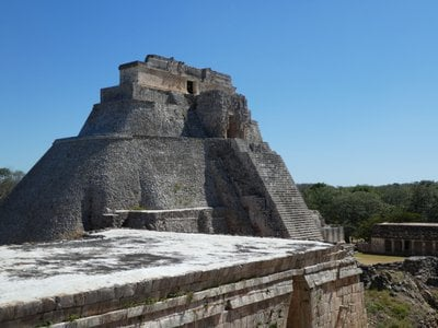 The Pyramid of the Magician stands over 100 feet tall and contains five different temples built in succession.
