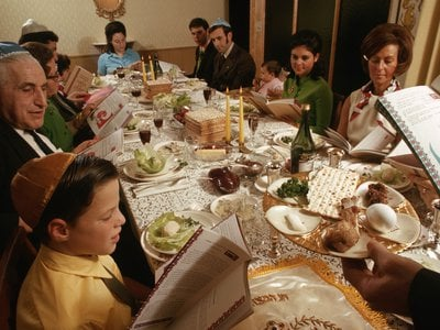 A family holds a Passover seder in 1970