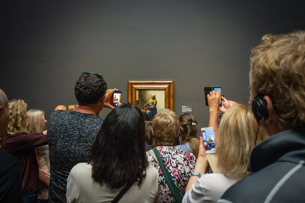 In front of a Vermeer painting. thumbnail