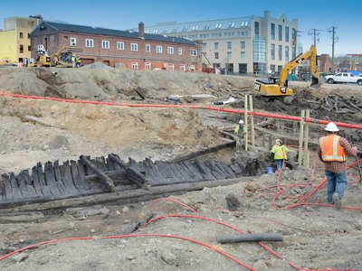 Archaeologists in Alexandria, Virginia, have unearthed three 18th-century ships that were buried to extend the city's land.