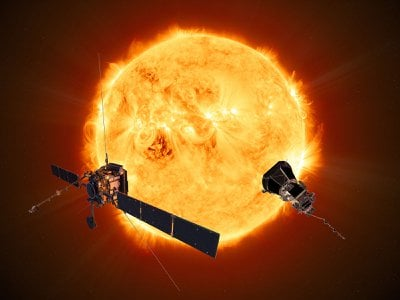 An artist's rendering of the Parker Solar Probe and Solar Orbiter
