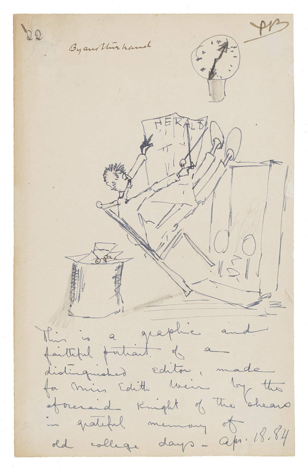 Illustrated note in blue ink with a sketch of a man reading a newspaper while leaning back in a char. He is wearing slippers and has his feet propped up on a fireplace mantle. There is a clock on the wall and box behind his chair.
