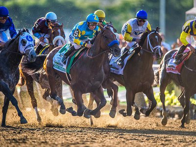 Horses race in the 2015 Belmont Stakes. Researchers have found that horse race speed has increased since 1850.