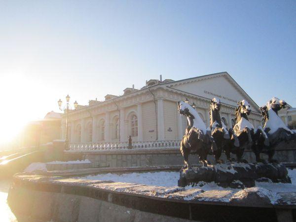 Snow covered horses outside the Kremlin walls thumbnail