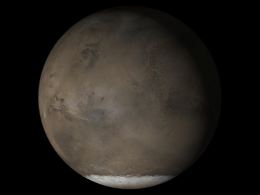A composite image shows Mars from the side, emphasizing the southern polar ice cap