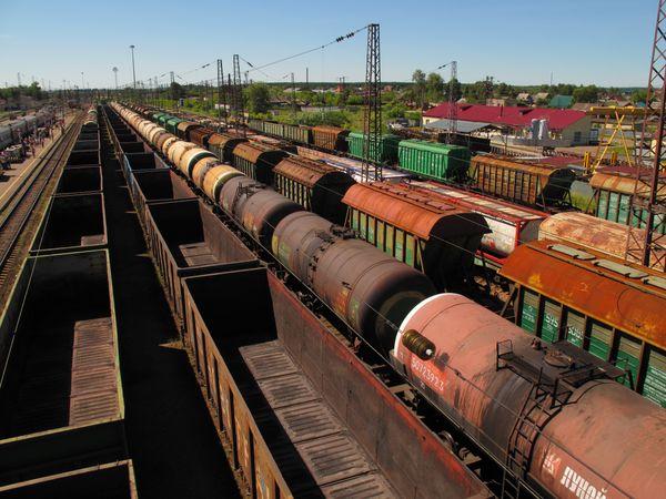 Railway goods yard in Siberia, Russia. thumbnail