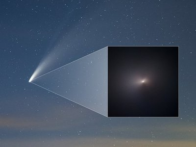 In the background, an image taken from the Northern Hemisphere of Comet NEOWISE on July 18, 2020. Inset, the Hubble Space Telescope's most recent snapshot of NEOWISE, taken on August 8 as it careens away from Earth.