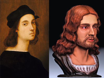 Raphael's famed Uffizi self-portrait and the new facial reconstruction
