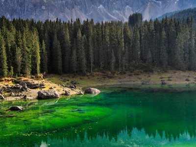 Green waters of Lake Carezza, Italy.