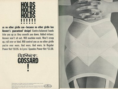 Spandex, under the brand name Lycra, quickly took off after it was introduced in 1962. This ad was published in Good Housekeeping in October of that year.