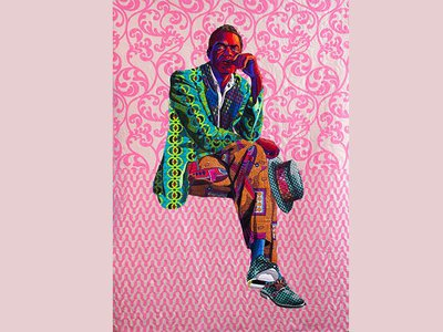 Bisa Butler, I Am Not Your Negro, 2019. Cotton, wool and chiffon, quilted and appliquéd. 79 x 60 in.