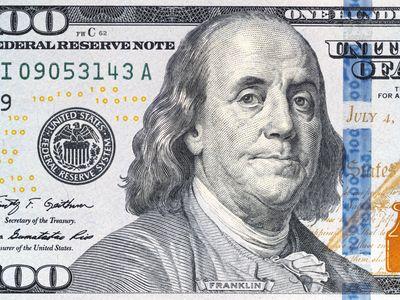 Benjamin Franklin's portrait on the 2009 design of the hundred dollar bill.