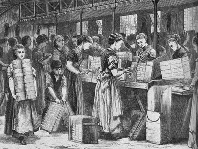 Female match workers in the 1870s.