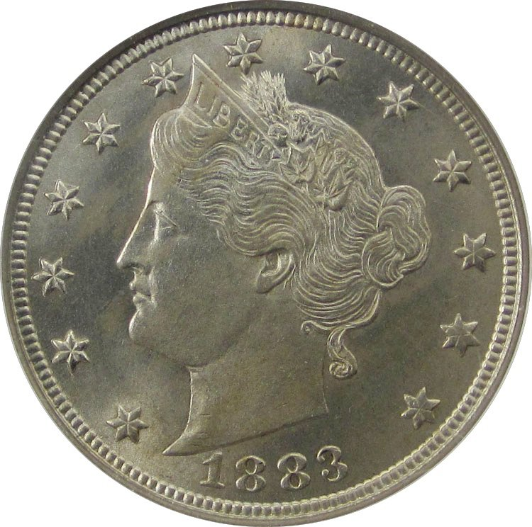 A Liberty Head nickel from 1883
