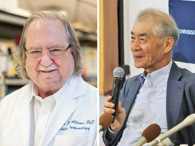 James P. Allison and Tasuku Honjo win the 2018 Nobel Prize in Physiology or Medicine for their foundational work on cancer immunotherapy.
