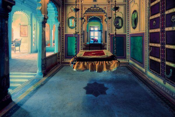 Royal Swing at City Palace in Udaipur, Rajasthan, India thumbnail