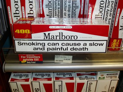 The warning label on cartons of duty-free cigarettes in Munich, Germany circa 2006.