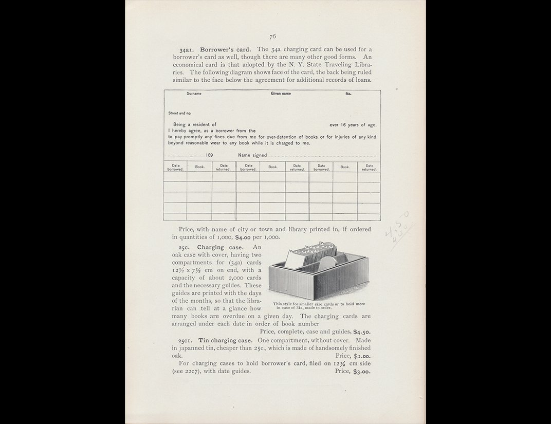 Trade catalog illustration of library charge slips and case.