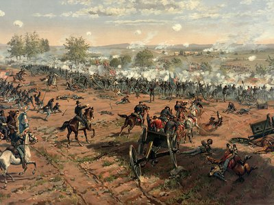 L. Prang & Co. print of the painting Hancock at Gettysburg by Thure de Thulstrup, showing Pickett's Charge.