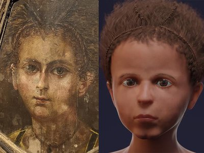 """A """"mummy portrait"""" affixed to a 3- to 4-year-old Egyptian boy's mummy (left) and a 3-D facial reconstruction based on the child's bone structure (right)"""