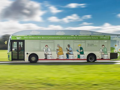 This airport shuttle can make a round-trip run on the waste produced by a single person in one year.